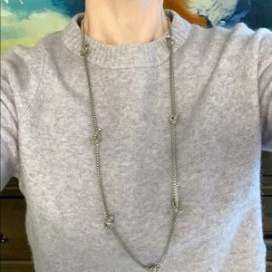 Silver Tone Knotted Statement Necklace